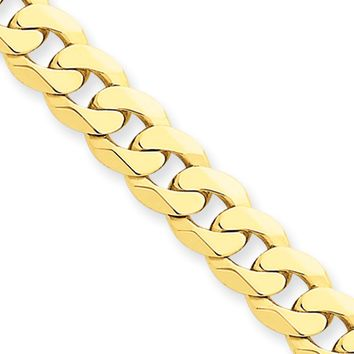 Men's 7.25mm 14k Yellow Gold Solid Beveled Curb Chain Bracelet, 7 Inch