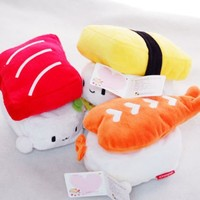 "Nwt SUSHI 6"" (15cm) Cute Plush Pillow Cushion Doll x3 SET Toy Gift Bedding Room Decoration Kawaii Egg, Shrimp, Tuna"