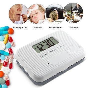 Dust-proof Separated Pill Organizer Pill Box Case & Splitters Electronic Timer Alarm