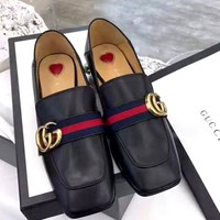 Free Shipping-GUCCI Women's versatile thick with high-heeled square head pearl shoes
