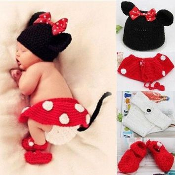 Newborn Girl Baby Hat+Skirt+Diaper Cover+Shoes Crochet Knit Minnie Mouse 4pcs 0-12 Mon