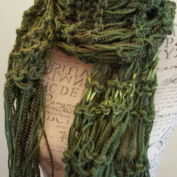 Knit Moss Green Scarf. Disheveled Infinity scarf. Made by Bead Gs on ETSY. chunky scarf