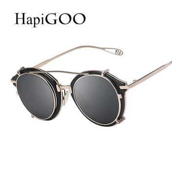 New Removable Men Steampunk Sunglasses For Myopia Glasses Frame Vintage Women Punk Mirrored Sun Glasses