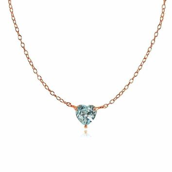 Dainty Blue Topaz Small Heart Choker Necklace in Rose Gold Plated 925 Silver