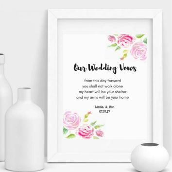 Our Wedding Vows, Personalized Wedding Poem Gift Print