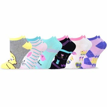 TeeHee Women's Easter Day Fashion No Show Socks 6 Pair Pack (Easter Bunny and Eggs)