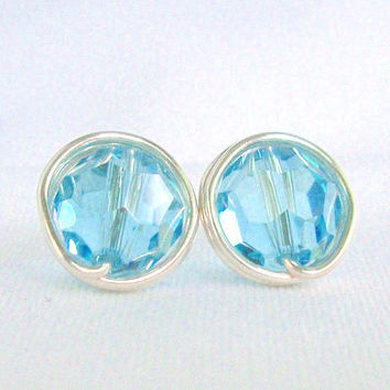 March Aquamarine Swarovski Crystal Stud Earings, Silver Post Earrings, Wire Wrapped Jewelry Handmade, March Birthday Jewelry Gift for Her