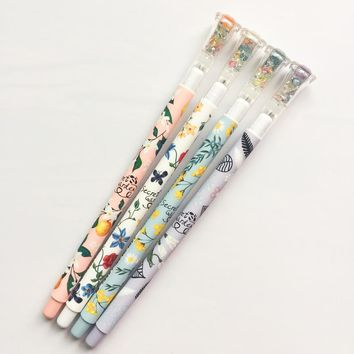 Z47 3X Colorful Diamond Head Floral Garden Gel Pen School Office Supply Stationery Writing Signing Pen Kids Student Gift 0.38mm
