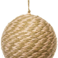Jute Twisted Ball Christmas Ornament, Natural,Olive