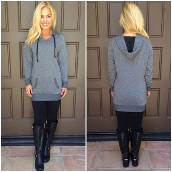 Livin's Easy Hoodie Tunic - CHARCOAL GREY