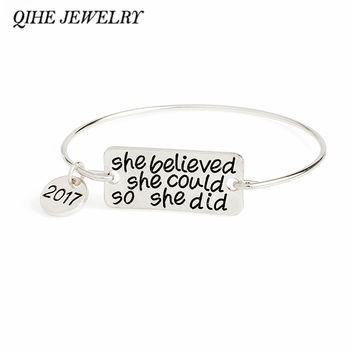 She Believed She Could So She Did 2017 Bangle Handmade Personalized Inspirational Jewelry Girl Graduation Gift