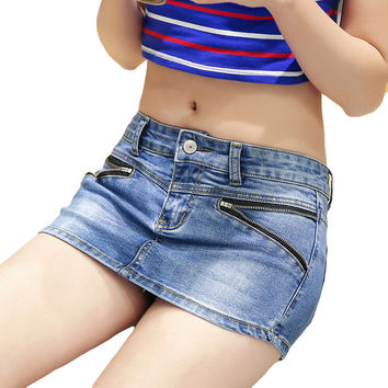 Casual Double Zipper Skirt Shorts