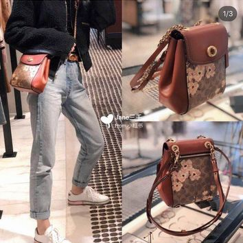 Kuyou Gb89815 Coach 53087 Parker Backpack Crossbody Bag In Signature Canvas  17*21*7 Cm