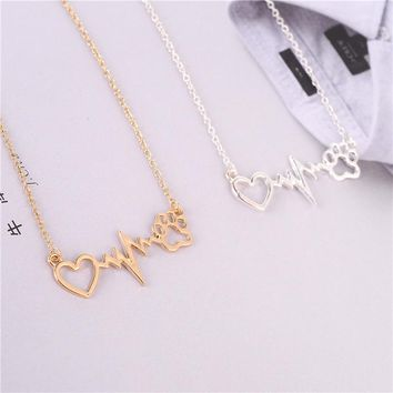 New Fashion Heart-shaped Dog Paw Print Heartbeat ECG Necklace Jewelry.Unique Lovely Gold/Silver Animal Paw Accessories