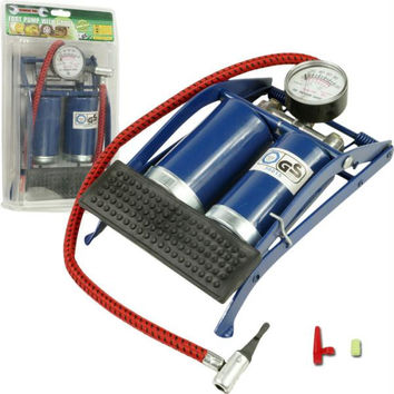 Stalwart  Double Cylinder Foot Pump w- Gauge
