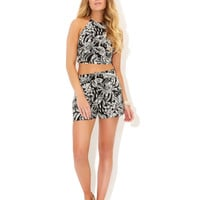Monochrome Palm Print Crop Top | Multi | Accessorize