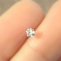 Tiny Crystal Star Internally Threaded Cartilage or Tragus Piercing Helix