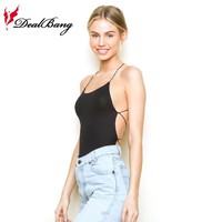 DealBang New brandy melville stretch Ribbed Criss Cross Back Rose bodysuit Summer Sexy Bodycon Ladies Rompers Womens Jumpsuit