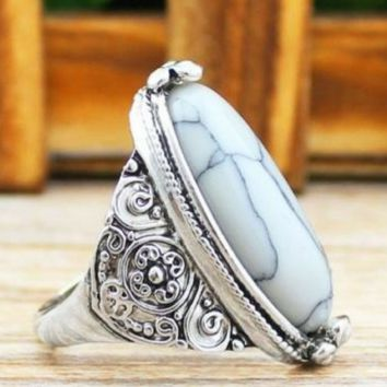 Vintage Tibetan Alloy Antique Silver Plated White Oval Turquoise Ring