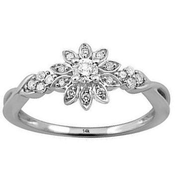 IGI CERTIFIED  14k White Gold Diamond 1/5 Carat Engagement Ring Band