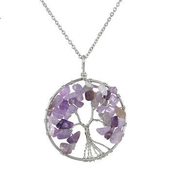 Tree of life Pendant Rose Chakra Crystal Necklace