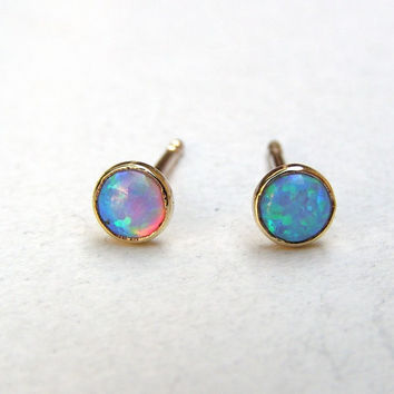 Post earrings Solid 14k gold Opal Studs  fine gold earring Eco - friendly. Mother day earrings