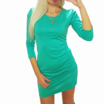 Female Sexy Pencil Dress Clubwear 2016 Autumn Three Quarter O-neck Mini Dresses Casual Women Solid Slim Bodycon Vestidos M0440