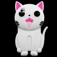 Cute 3D Cartoon Cat Animal Silicone Case Cover for iPhone 4 4S White