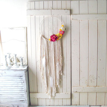 Large Dream Catcher, Boho Gypsy Dream Catcher, Neutral Wall Hanging with Flowers, Nursery Decor, Dream Catcher with Feathers, Wedding Decor