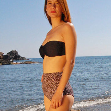 High-Waisted Moderate Bikini Bottom LOS ROQUES in Leopard, by Makani Dream Swimwear
