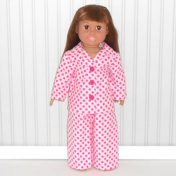 Pink Flannel Pajamas with Hot Pink Polka Dots fits 18 inch Dolls American Doll Clothes