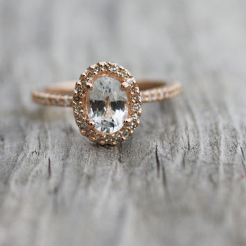 Oval white sapphire diamond ring 14k rose gold by EidelPrecious