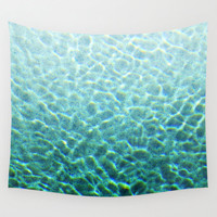 Pool Water 2 - Wall Tapestry, Turquoise Blue Green, Mermaid Style Beach Surf Boho Chic Backdrop Accent Throw Cover. In 51x60 68x80 88x104