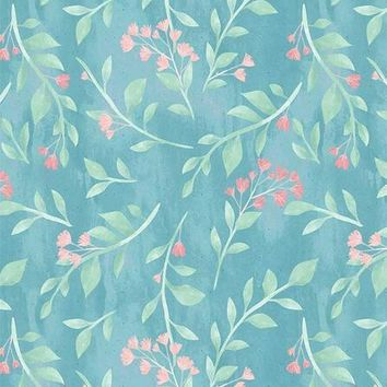 SEAMLESS FLORAL VINES PINK FLOWERS BLUE TEXTURED PRINTED BACKDROP - 6351 - 5x6 - LCPC6351 - LAST CALL