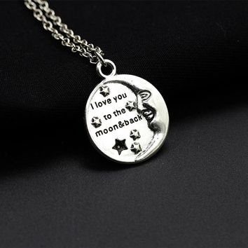"New Design Stereo Smiling Meniscus Moon Stars Words ""I love you to the moon & back"" Silver Pendant & Necklace Women Lovers"