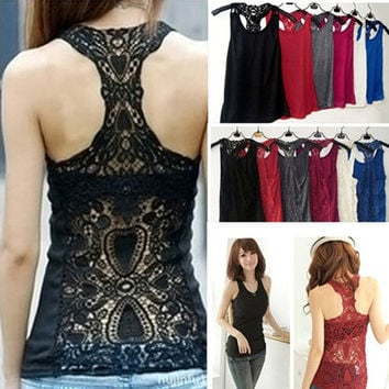Sexy Crochet Back Carved Flowers Vest Girl Base Shirt Camisole Lace Tank Top  = 5660754369