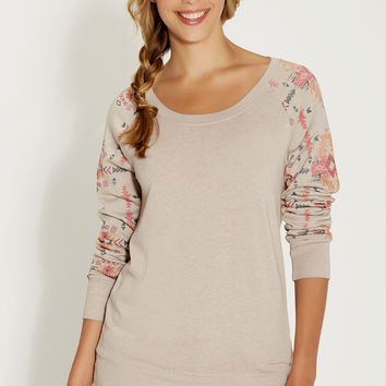 burnwash pullover with ethnic graphic sleeves