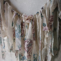 Vintage Cottage Chic Roses.Tattered Fabric Garland. Romantic Shabby Wall Decor. Photo Prop. Weddings. Birthdays.Valance. Mauve pink Teal