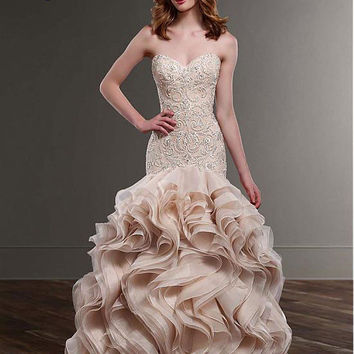 Gorgeous Tulle & Organza Sweetheart Neckline Mermaid Wedding Dresses with Beaded Lace Appliques