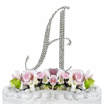 Letter A - Crystalized Silver Cake Topper Monogram Cake Topper