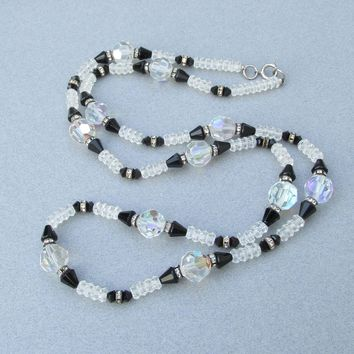 "Pretty 30"" Long Vintage 1950's Aurora Borealis Crystal & Black Bead Necklace"