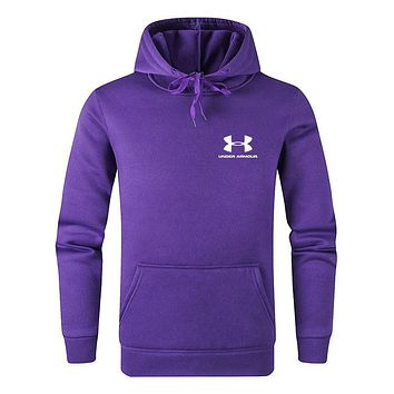 Under Armour Tide brand men's and women's versatile solid color hooded sweater Purple