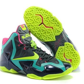 2018 Official LeBron 11 T Rex Sport Turquoise Electric Yellow Brand sneaker