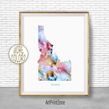Idaho Print Idaho Art Print Idaho Decor Idaho Map Art Print Map Artwork Map Print Map Poster Watercolor Map ArtPrintZone