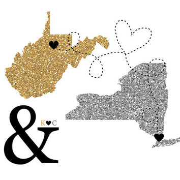 Glitter Maps with Ampersand - 8x10 Art Print, Long Distance Relationships, Hometowns, Two Locations - Silver and Gold, Anniversary Gift