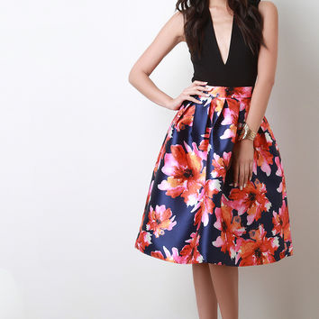 Floral Abstract Pleated Skirt