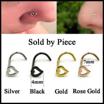 ac PEAPO2Q Fashion S Shape Punk Nose Ring Stainless Steel  Love Heart Nose Stud Piercing Surgical  Women Men Body Jewelry