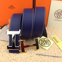 HERMES Reversible double H Gold/Silver Buckle blue Men's Belt