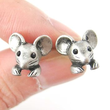 Mouse Mice Realistic Animal Stud Earrings in Silver | Animal Jewelry