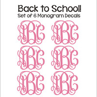 Set of Six Monogram Decals Small Vinyl Decals Monogram Decals Personalized Preppy Back to School Notebook Binder Folder Decals